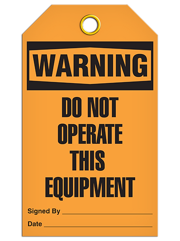 WARNING - Do Not Operate This Equipment