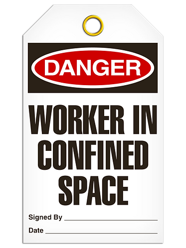 DANGER  -  Worker in Confined Space