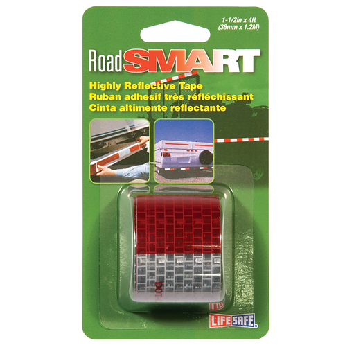 """Road Smart Red/Silver Highly Reflective Tape 1.5"""" x 4ft"""