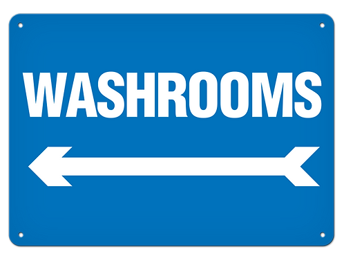 Washrooms Arrow Left Sign