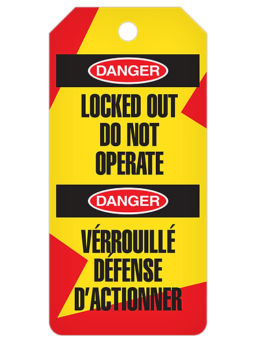 LOCKOUT Tag Roll  -  Locked Out Do Not Operate (English/French)