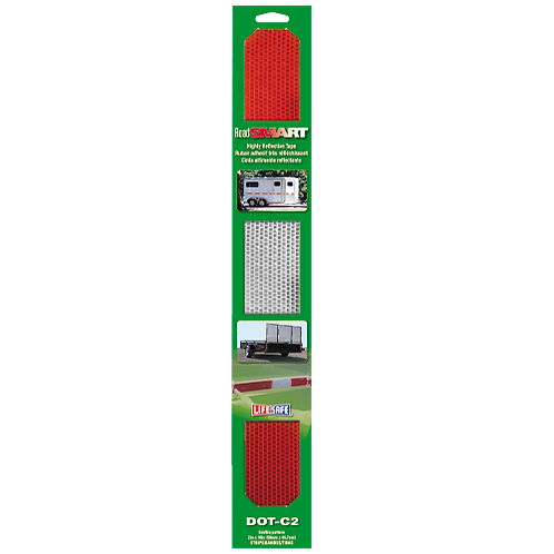 """Road Smart DOT-C2 Reflective Strip 2"""" x 18"""" (Red/Silver)"""