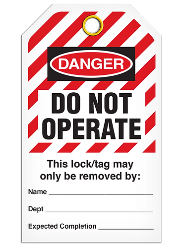 LOCKOUT TAG - Do Not Operate - Hazard Stripe