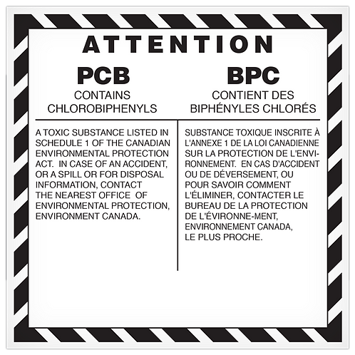 PCB Contains Chlorobiphenyls English/French
