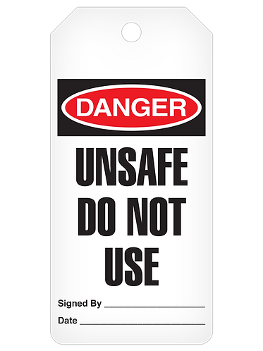DANGER Tag Roll  -  Unsafe Do Not Uase