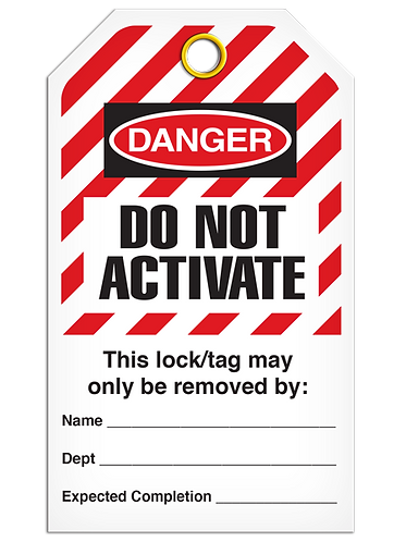 LOCKOUT TAG - Do Not Activate - Hazard Stripe