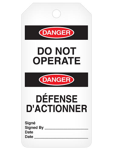 DANGER Tag Roll  -  Do Not Operate (English/French)