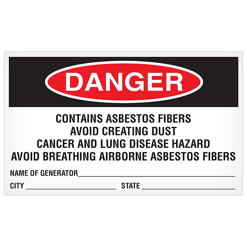 DANGER - Contains Asbestos Fibers Avoid Creating Dust