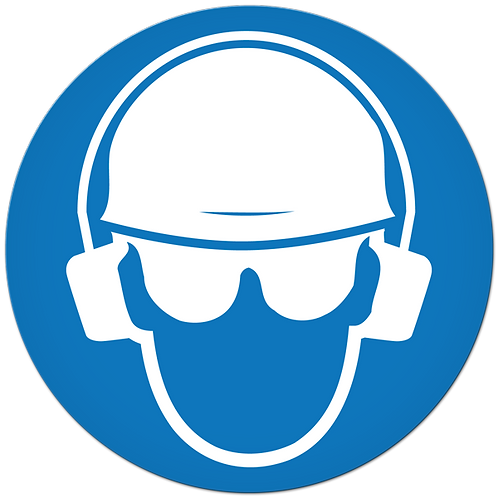 MANDATORY - Head, Eye, And Ear Protection Required
