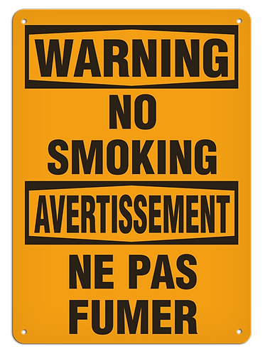 BILINGUAL WARNING - No Smoking