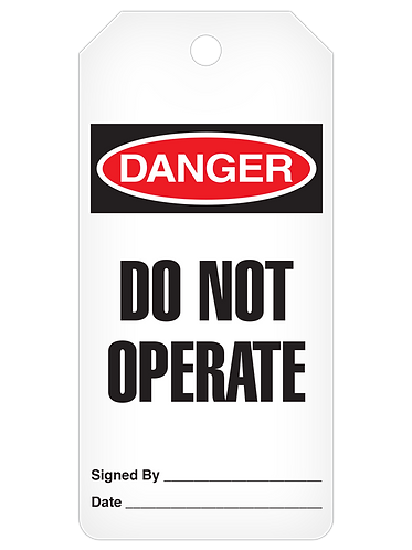 DANGER Tag Roll  -  Do Not Operate