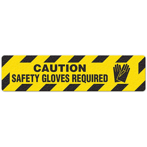 Caution - Safety Gloves Required Floor Sign