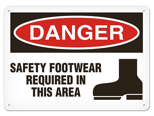 DANGER - Safety Footwear Required In This Area Safety Sign