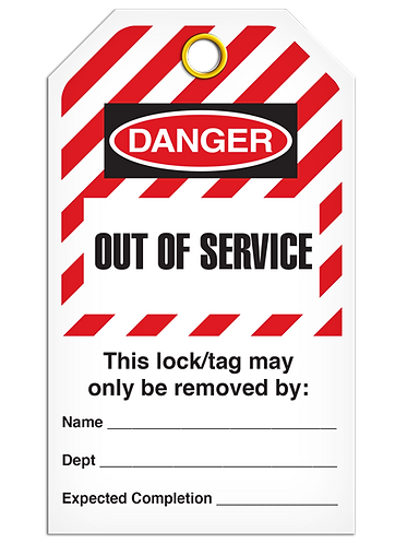 LOCKOUT TAG - Out Of Service - Hazard Stripe