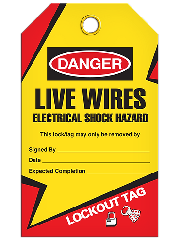 LOCKOUT TAG - Live Wires Electrical Shock Hazard