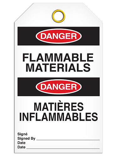 Bilingual DANGER - FLAMMABLE MATERIALS