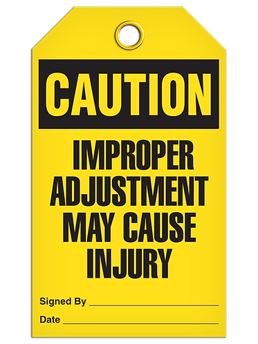 CAUTION - Improper Adjustment May Cause Injury