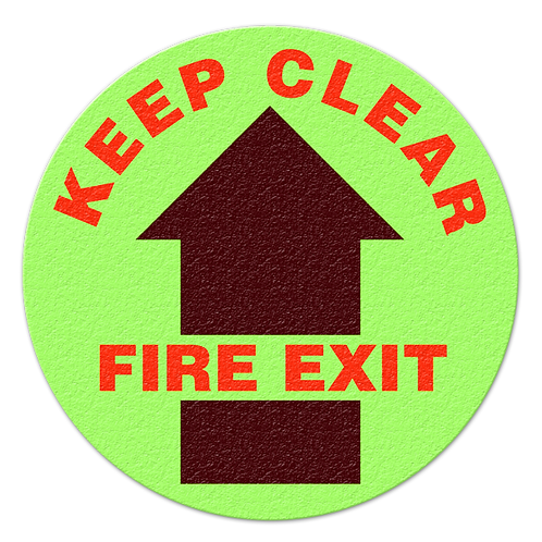Keep Clear Fire Exit Glow Floor Sign