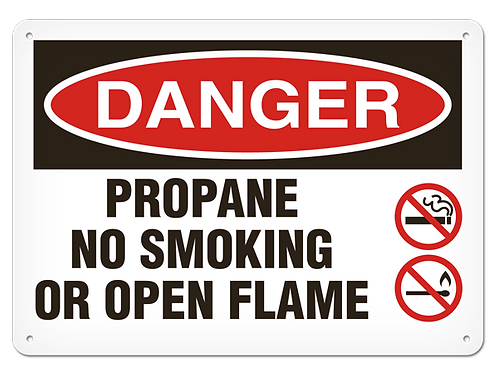 DANGER - Propane No Smoking Or Open Flame Safety Sign