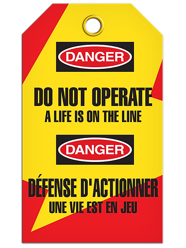Bilingual LOCKOUT - Do Not Operate A Life Is On The Line