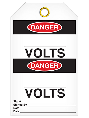 Bilingual DANGER - ______Volts