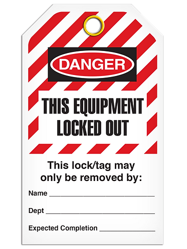 LOCKOUT TAG - This Equipment Locked Out - Hazard Stripe