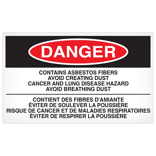 DANGER - Contains Asbestos Fibers English/French