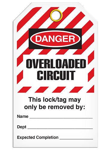 LOCKOUT TAG - Overloaded Circuit - Hazard Stripe