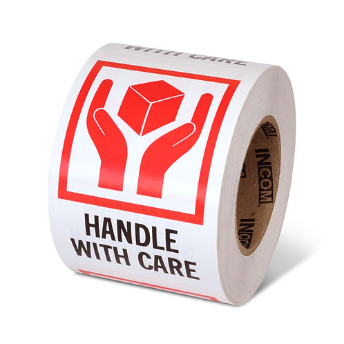 """HANDLE WITH CARE - 6"""" x 4"""" Handling Label"""