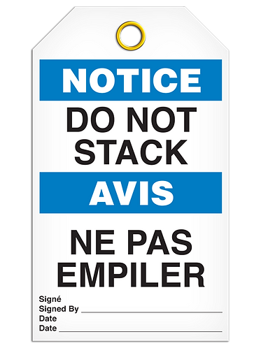 Bilingual NOTICE - DO NOT STACK