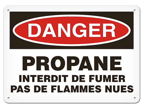DANGER - Propane interdit de fumer pas de flammes nues Safety Sign