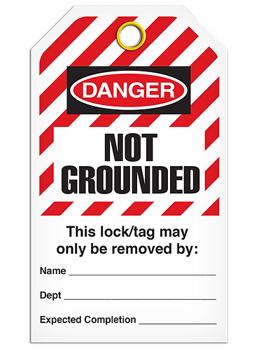 LOCKOUT TAG - No Grounded - Hazard Stripe