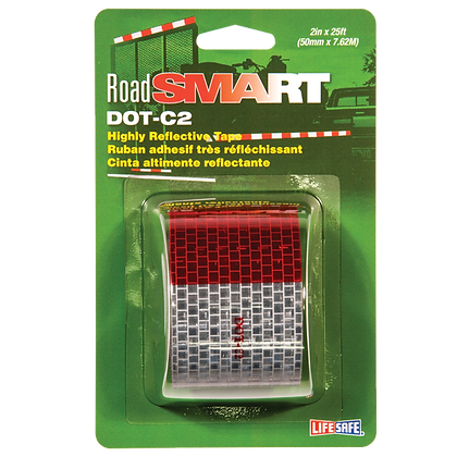 "Road Smart DOT-C2 Reflective Tape 2"" x 25ft (Red/Silver)"