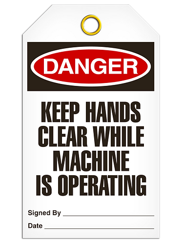 DANGER - Keep Hands Clear While Machine Is Operating