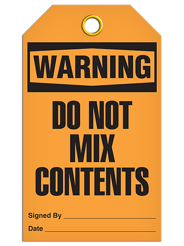 WARNING - Do Not Mix Contents