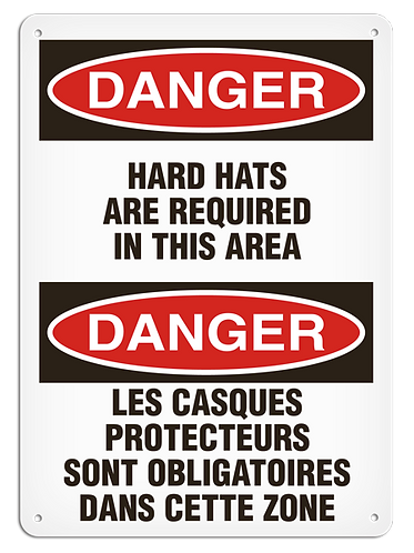 BILINGUAL DANGER - Hard Hats Are Required In This Area