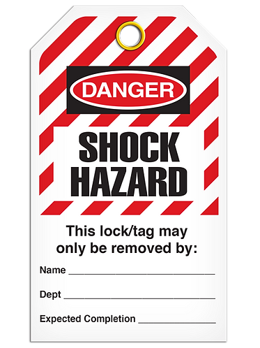 LOCKOUT TAG - Shock Hazard - Hazard Stripe