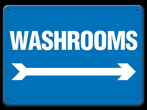 Washrooms Arrow Right Sign