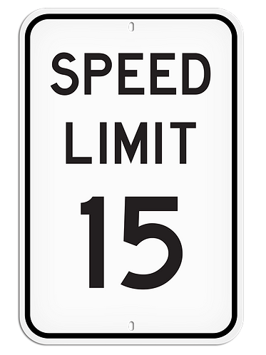 PARKING LOT SIGN - Speed Limit 15