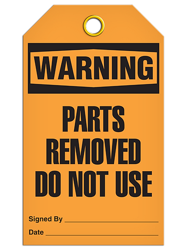 WARNING - Parts Removed Do Not Use