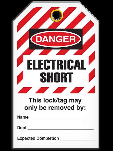 LOCKOUT TAG - Electrical Short - Hazard Stripe
