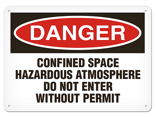 DANGER - Confined Space Hazardous Atmosphere Safety Sign