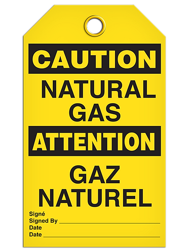 Bilingual CAUTION - NATURAL GAS