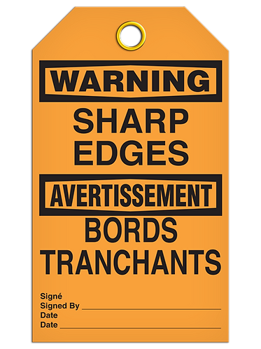 Bilingual WARNING - SHARP EDGES