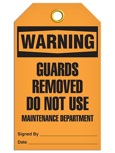 WARNING - Guards Removed Do Not Use Maintenance Department