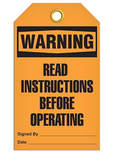 WARNING - Read Instructions Before Operating