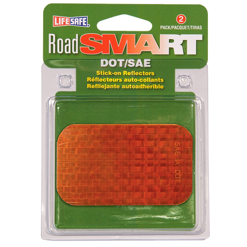 "Road Smart Amber Stick-On Reflectors 2"" x 3.5"""