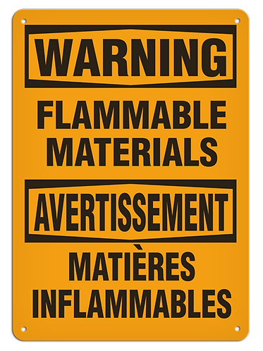 BILINGUAL WARNING - Flammable Materials