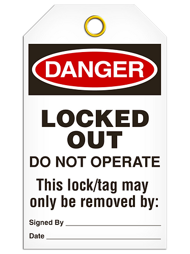 DANGER  -  Lock Out Before Maintenance Service or Repair