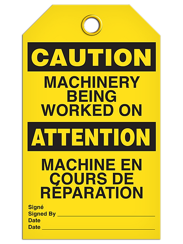 Bilingual CAUTION - MACHINERY BEING WORKED ON